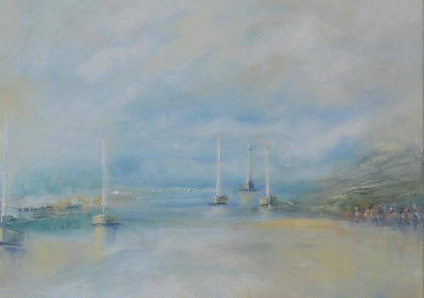Lull  Huile sur toile 50 x 50 cm Entre terre et mer Lull s'inspire des paysages côtiers. Bâteaux et randonneurs animent la scène.