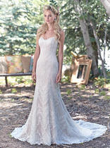 Fit and flare lace wedding dress