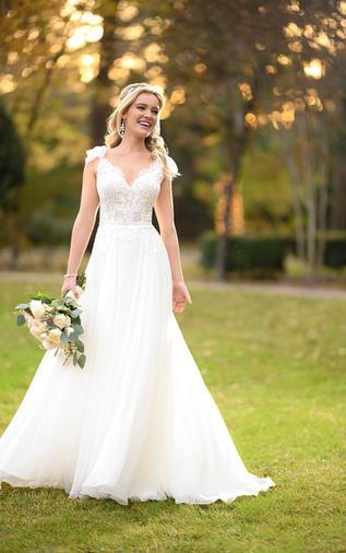 Boho Chiffon Wedding Gown - 1006942