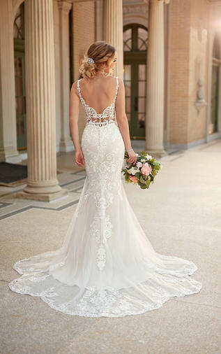 Lace Fit-and-Flare Wedding Dress - 1006914