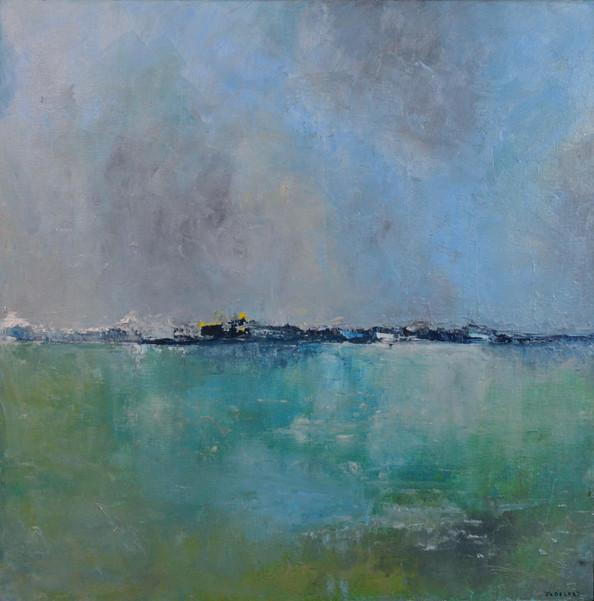 Horizon Huile sur toile 50 x 50 cm