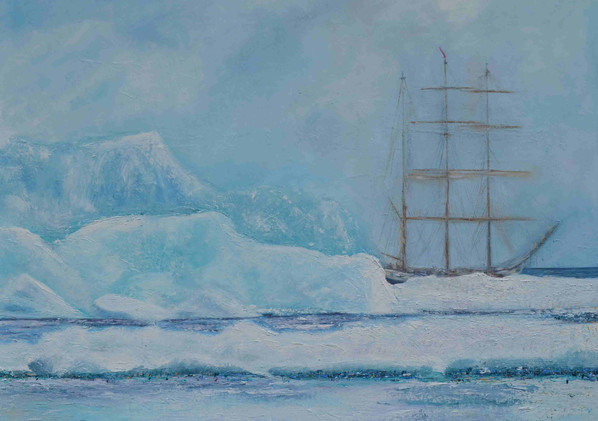 Europa  Huile sur toile 73 x 54 cm Le voyage du grand voilier Europa. L'immensité glaciaire côtoie la grâce et la beauté de ce vaisseau des mers. Un contraste saisissant !