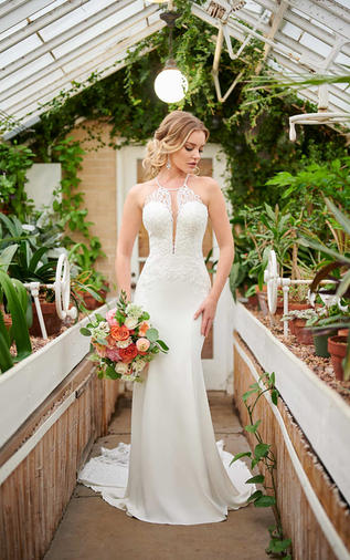 Halter crepe weeing gown - 1006999