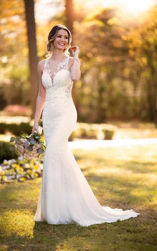 Modern crepe wedding dress - 1006916