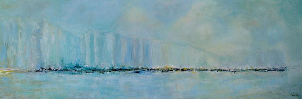 Falaise anglaise huile sur toile 150 x 50 cm
