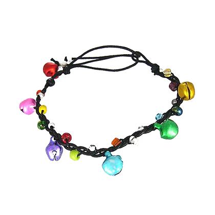 Bracelet en coton et grelots colorés