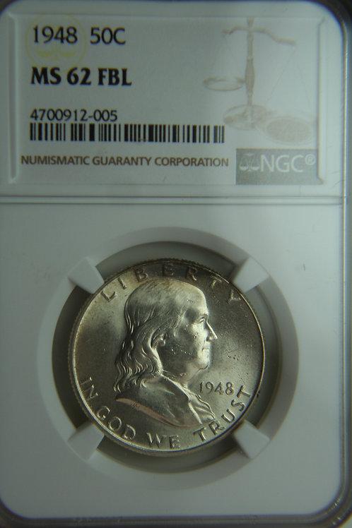 1948 Franklin Half Dollar NGC MS62 FBL