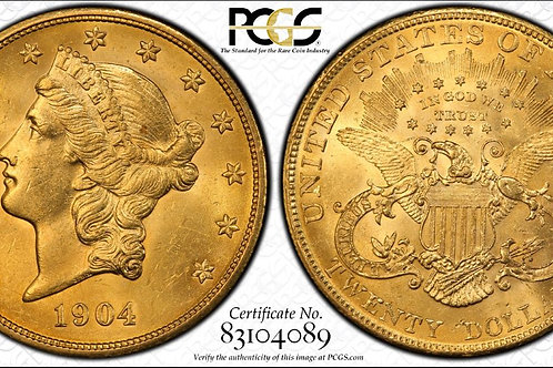 1904 $20 Double Eagle PCGS MS62