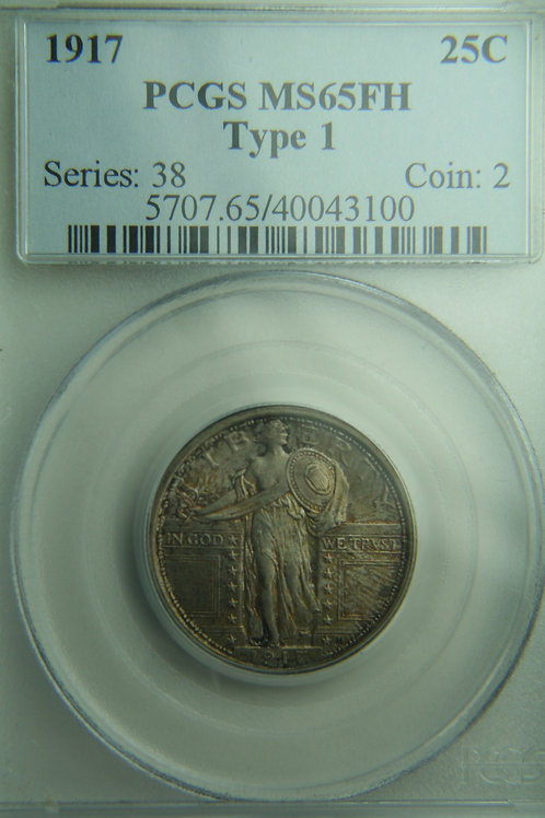 1917 Type One Standing Liberty Silver Quarter PCGS MS65FH
