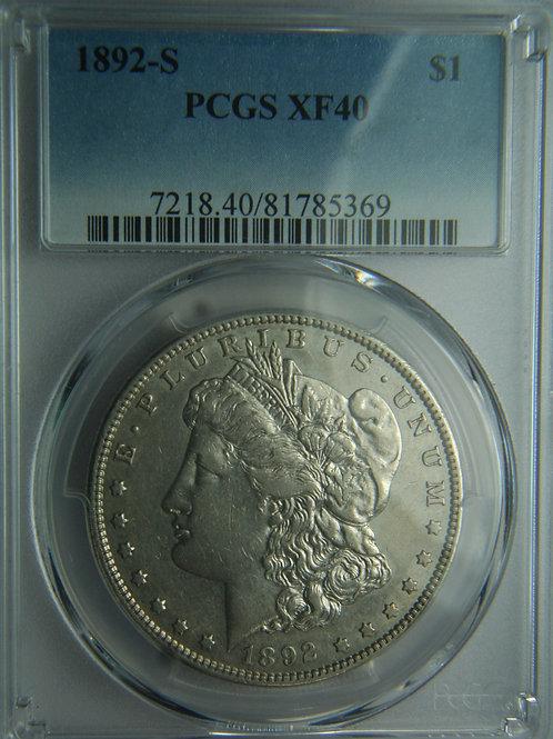 1892-S Morgan Silver Dollar PCGS XF40