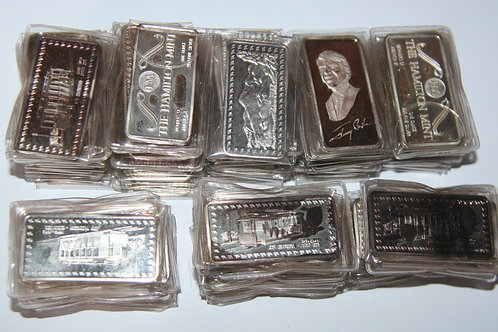 Vintage Lot of 80 One Troy Ounce .999 Fine Silver Bars - Hamilton Mint