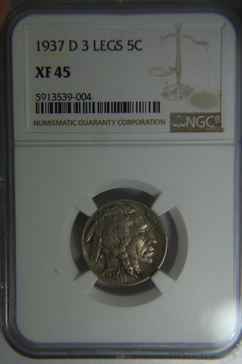 1937-D 3 Legged Buffalo Nickel - NGC XF45