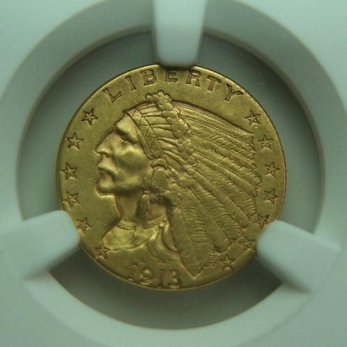 1913 $2.50 Quarter Gold Eagle NGC AU58 & CAC
