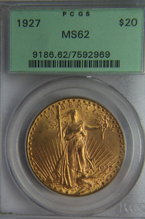 1927 $20 Double Eagle PCGS MS62 Green Label