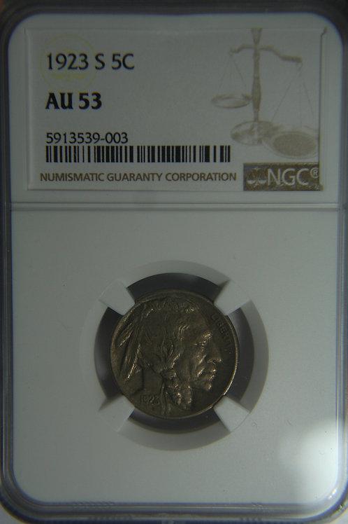 1923-S Buffalo Nickel - NGC AU53