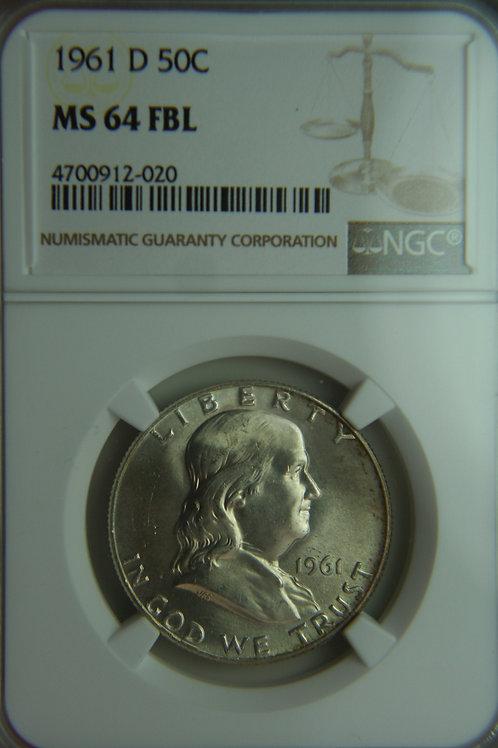 1961-D Franklin Half Dollar NGC MS64 FBL