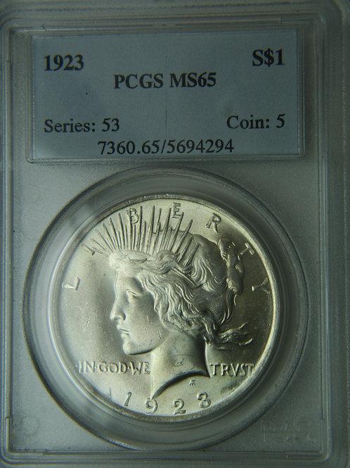1923 Peace Silver Dollar PCGS MS65