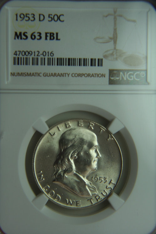 1953-D Franklin Half Dollar NGC MS63FBL