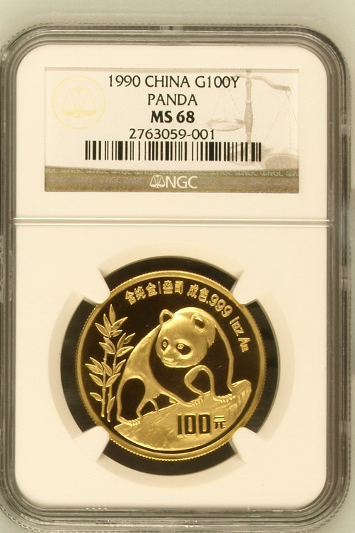 1990 Gold Panda One Troy Ounce 100Y NGC MS68