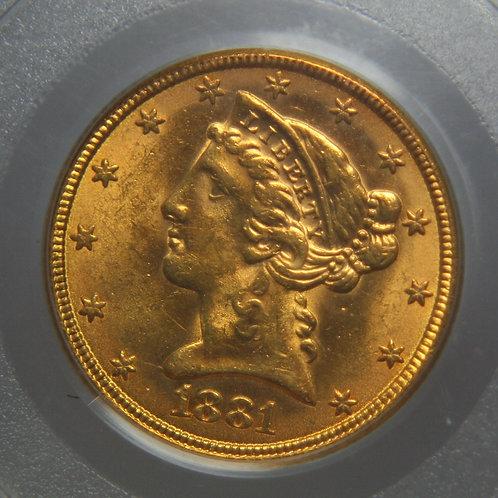 1881 $5.00 Half Gold Eagle PCGS MS61