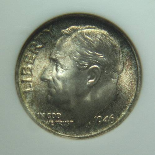 1946-S Roosevelt Dime NGC MS67 FT