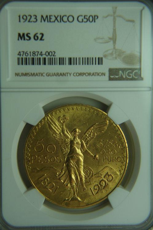 1923 Mexico 50 Pesos Gold Coin NGC MS62