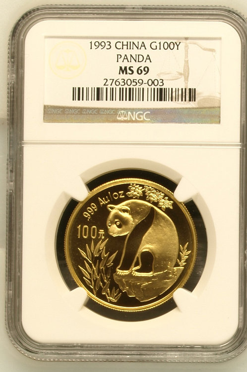 1993 Gold Panda One Troy Ounce 100Y NGC MS69