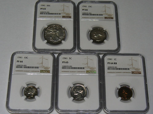 1941 U.S. Mint Proof Set NGC Certified MS64-MS66