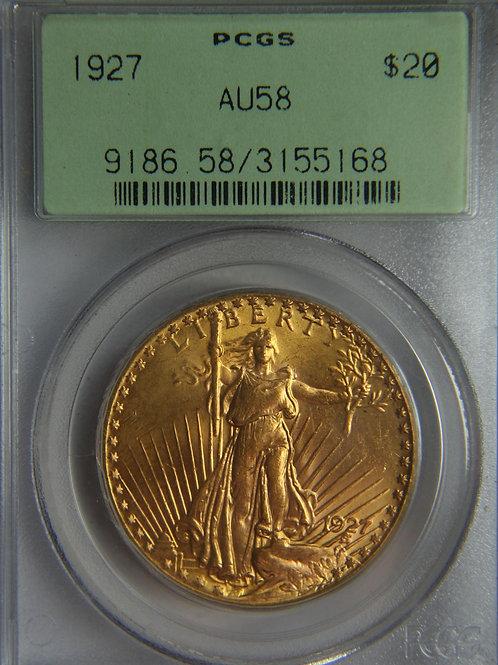 1927 $20 Double Eagle PCGS AU58 Green Label
