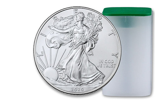 Brand New Roll of 2020 American Silver Eagles in Original Tube