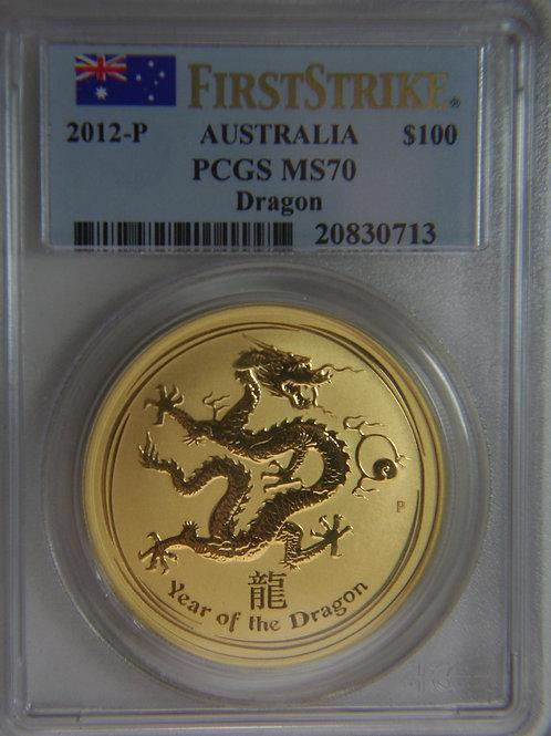 2012 -P Australia $100 DRAGON Gold Coin PCGS MS70