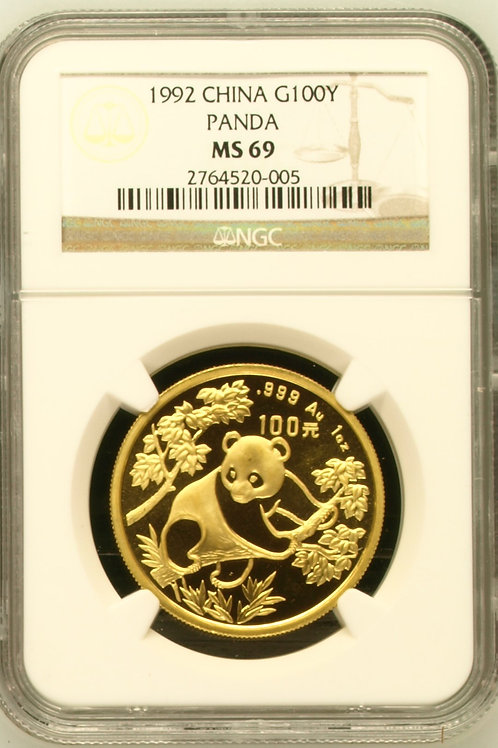 1992 Gold Panda One Troy Ounce 100Y NGC MS69