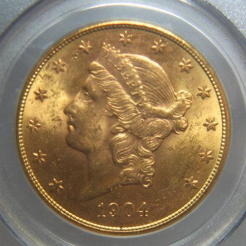 1904-S $20.00 Double Gold Eagle PCGS MS63