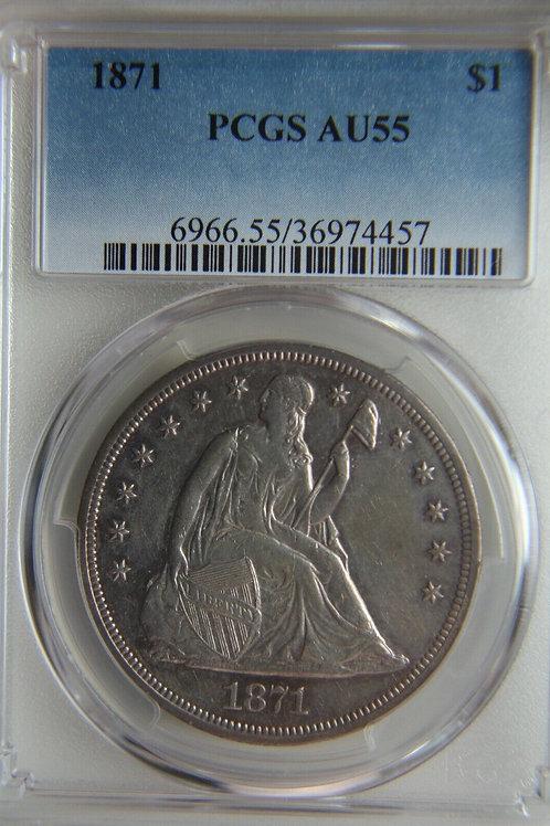 1871 Liberty Seated Silver Dollar PCGS AU55