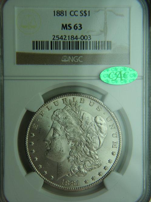 1881-CC Morgan Silver Dollar NGC MS63 & CAC