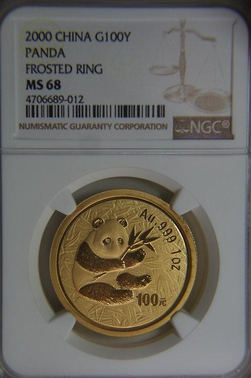 2000 China Panda 100 Yuan Frosted Ring NGC MS68