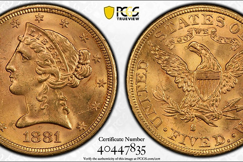 1881-S $5 Liberty Head Gold Half Eagle PCGS MS63