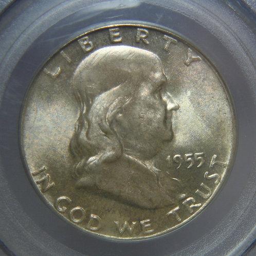 1955 Franklin Half Dollar PCGS MS64FBL