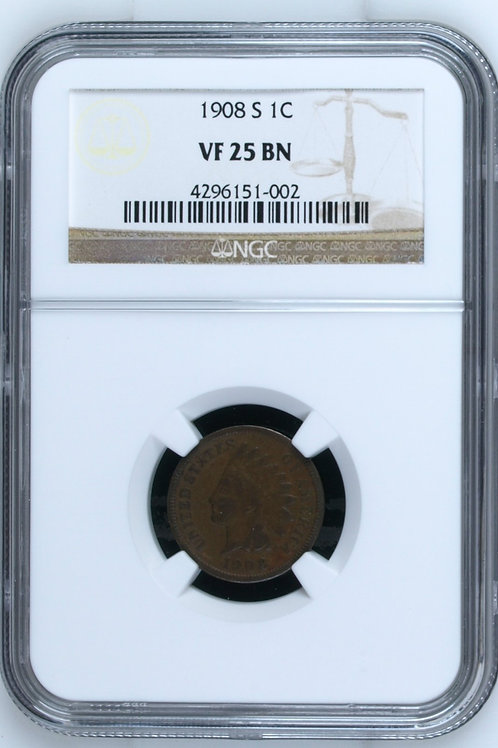 1908-S Indian Head One Cent NGC VF25 BN