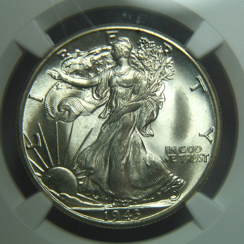 1943-D Liberty Walking Half Dollar NGC MS66