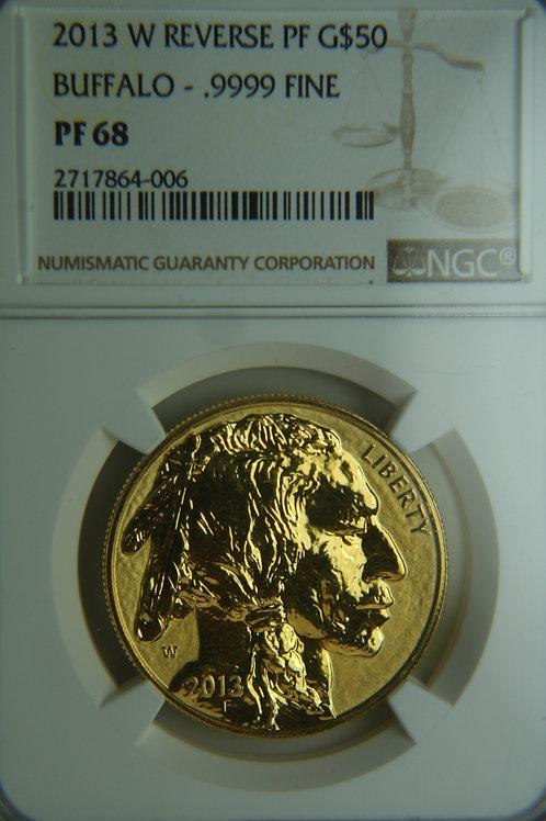 2013-W Gold Buffalo Reverse Proof NGC PF68