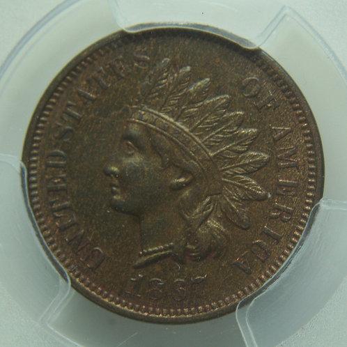 1867 Indian Head One Cent PCGS AU58