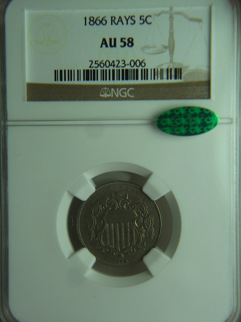 1866 Shield Nickel with Rays NGC AU58 & CAC