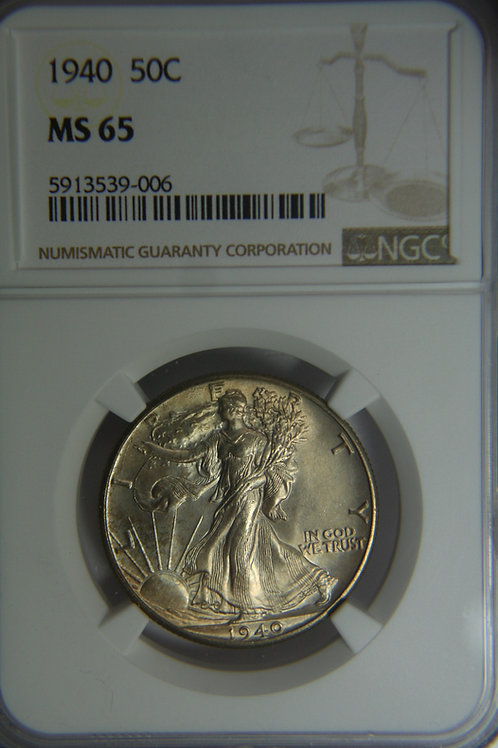 1940 Liberty Walking Half Dollar - NGC MS65