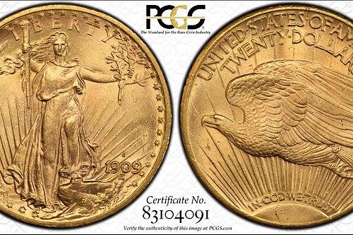 1909-S $20 Double Eagle PCGS MS64