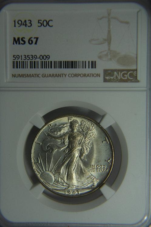 1943 Liberty Walking Half Dollar - NGC MS67