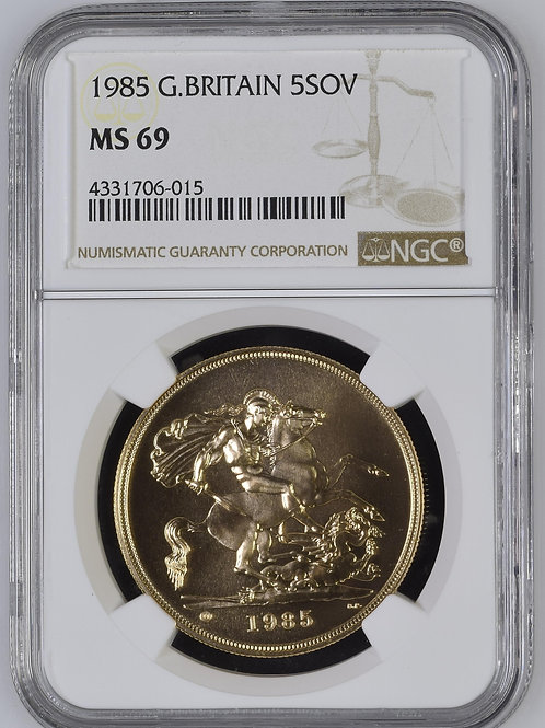 1985 Great Britain Gold 5 Sovereign NGC MS69