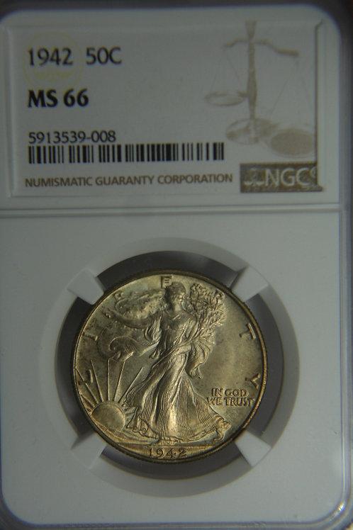 1942 Liberty Walking Half Dollar - NGC MS66