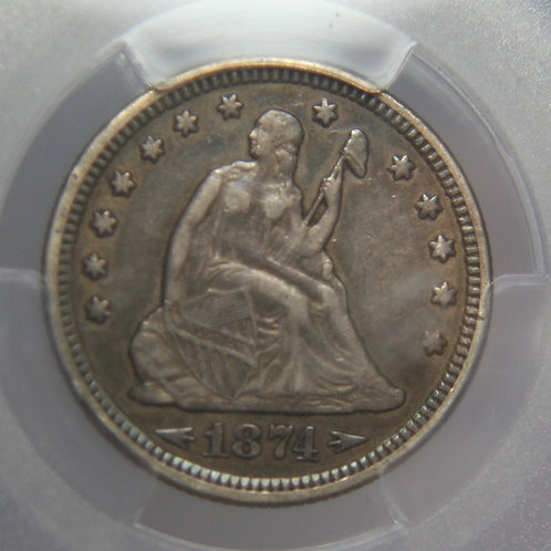 1874 Liberty Seated Quarter PCGS XF40
