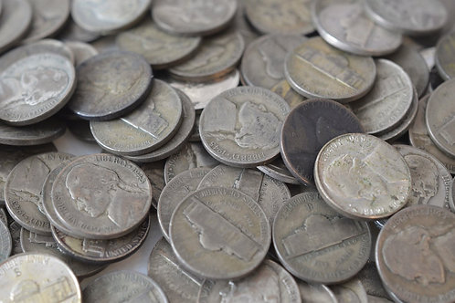 Qty. 500 War-Time Circulated Silver Nickels